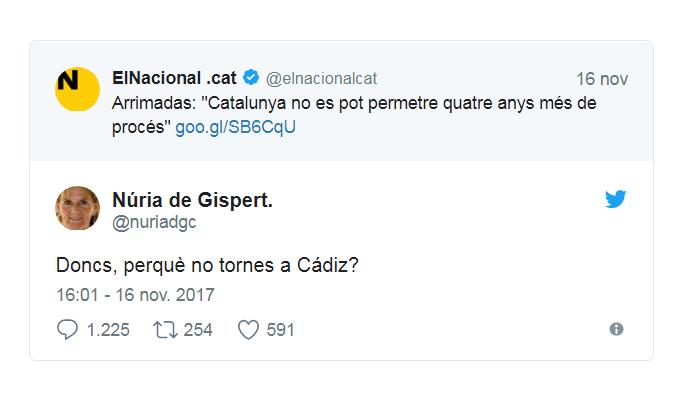 Tuit de gispert vuelvete a Cadiz